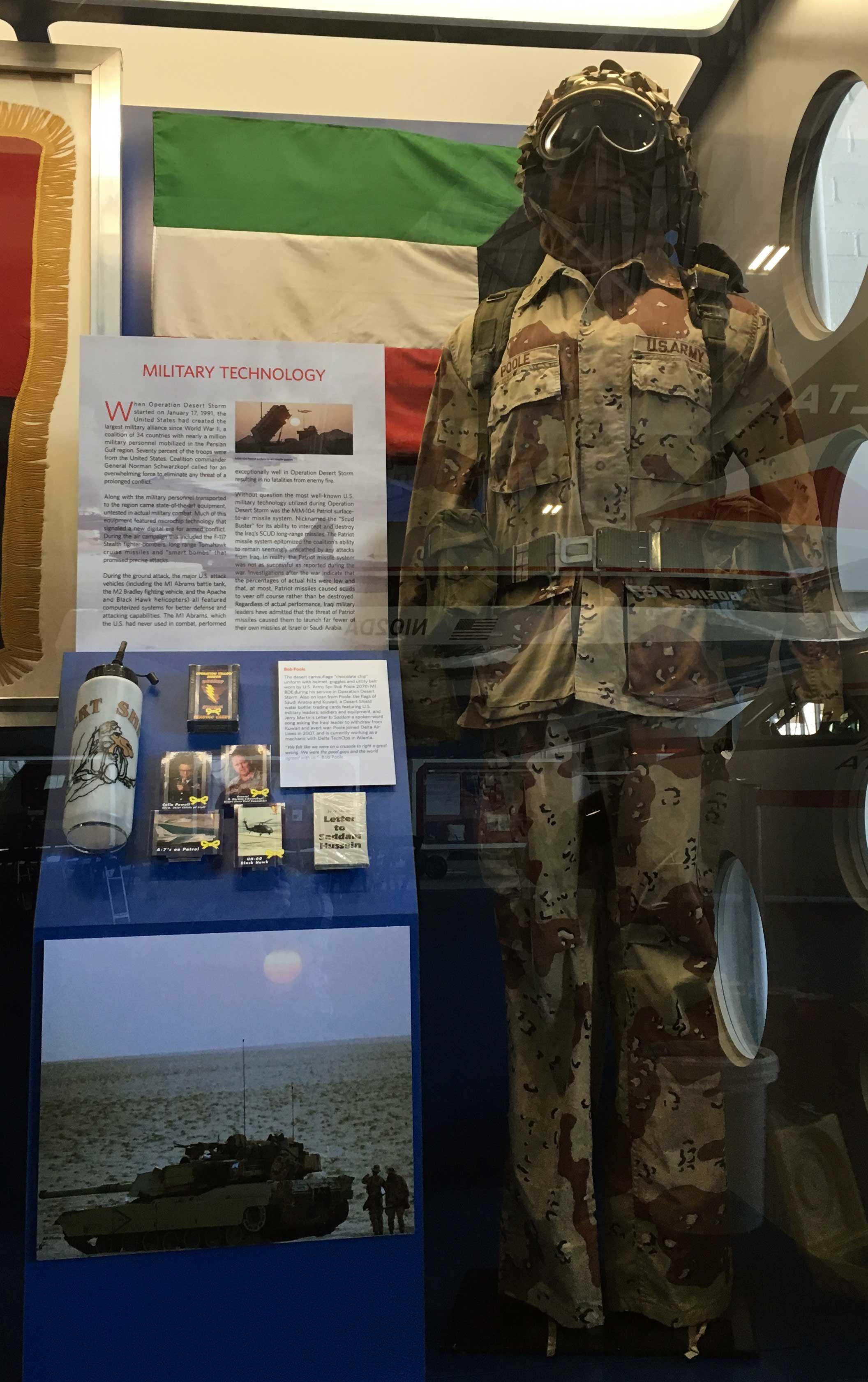 Image of Persian Gulf War Exhibit at the Delta Flight Museum showing chocolate chip desert camo uniform
