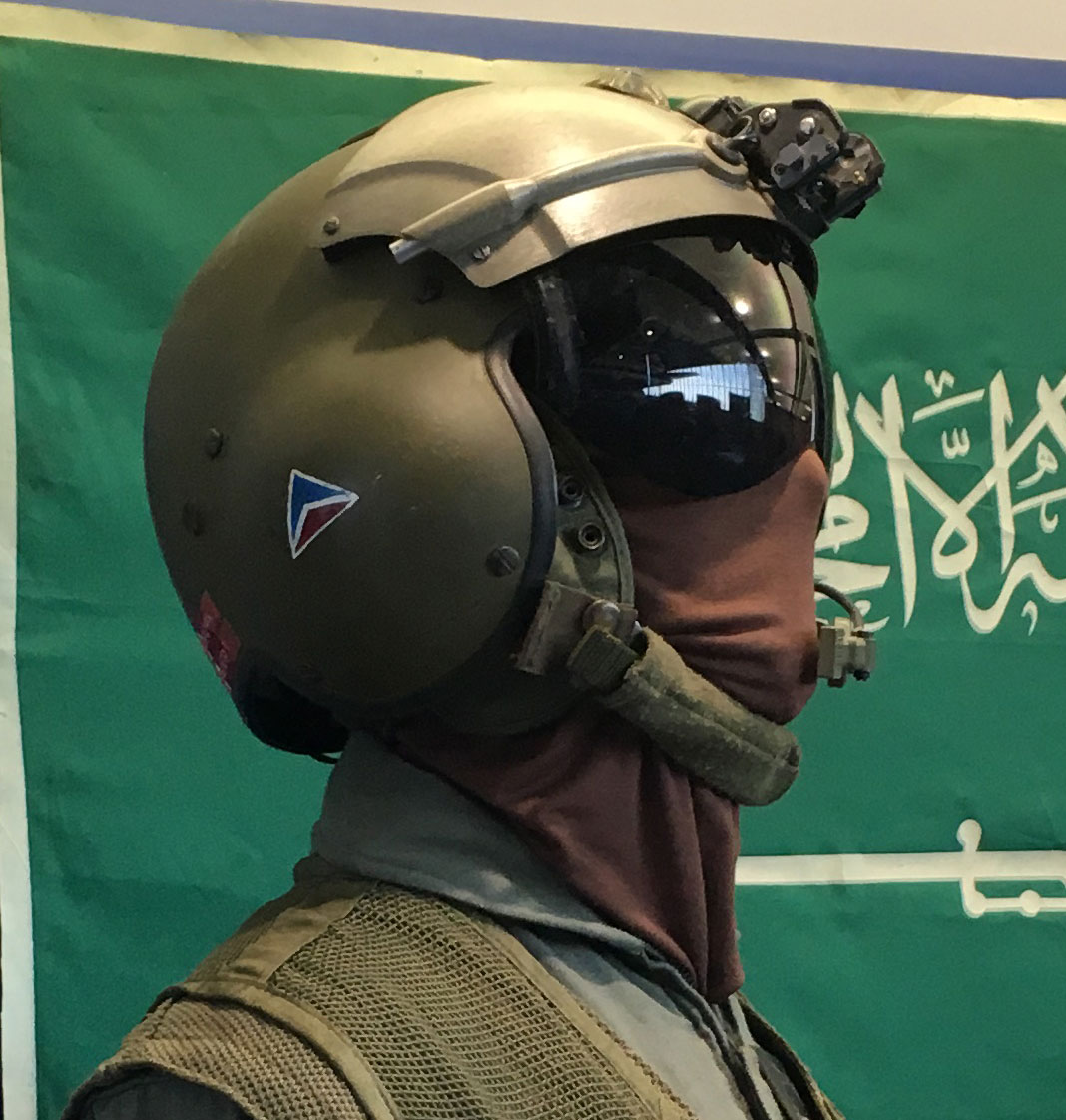Image of Persian Gulf War Exhibit at the Delta Flight Museum showing flight helmet with Delta widget