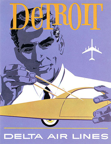 Delta Detroit travel poster, 1961