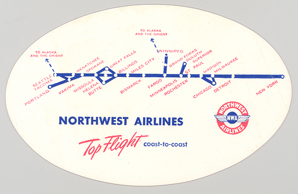 Northwest Airlines blotter Top Flight Coast-to-Coast 1945