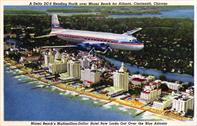 Delta postcard, DC-6 flying over Miami Beach, 1948
