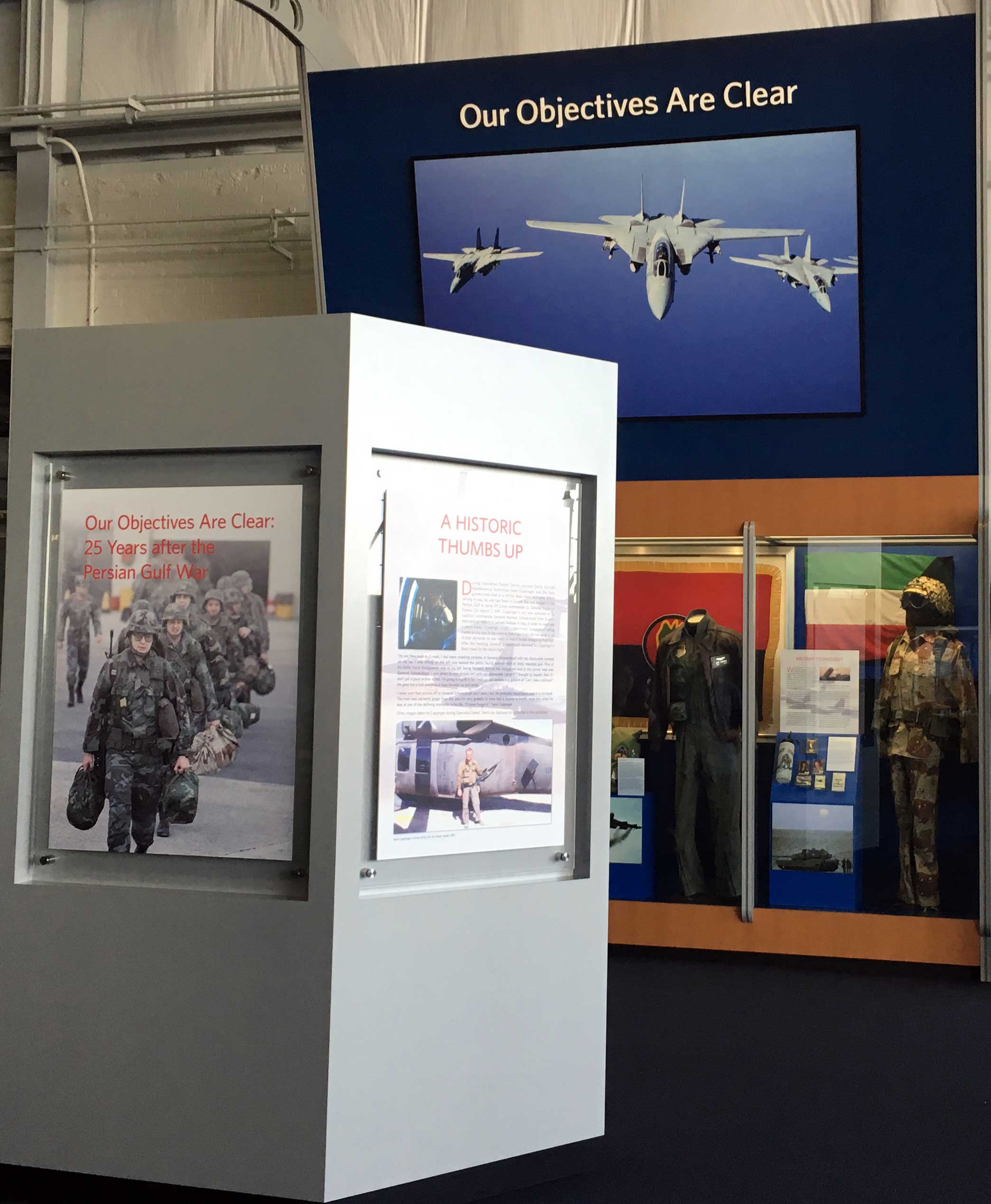 Image of Persian Gulf War Exhibit at the Delta Flight Museum showing exhibit case