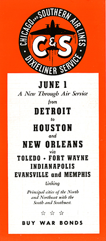 C&S ad for Detroit inaugural service 1945