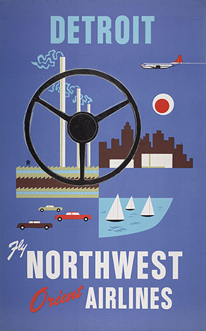 Northwest Airlines Detroit travel poster 1950s