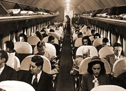 Delta DC-4 interior with passengers